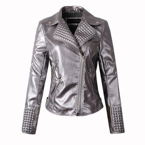 Women's Rivet Genuine Leather Jacket