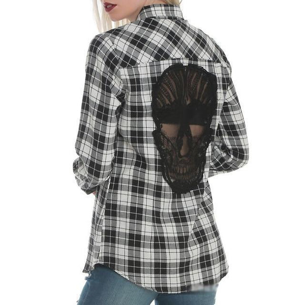 Skull Hollow Out Shirt