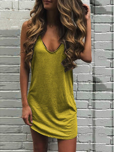 Sleeveless V Neck Casual Plain Dress
