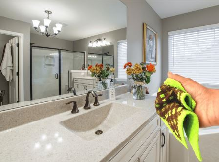 FCS plaid cleaning sponge cloths or Swedish dishcloths to keep your bathroom sparkling clean