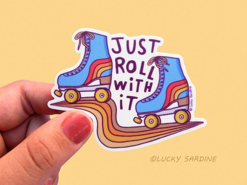 Just Roll With It, Roller Skate Vinyl Sticker