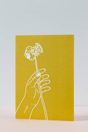 Yellow Hand Greeting Card