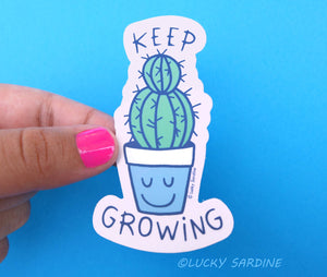 Keep Growing, Succulent Cactus Vinyl Sticker