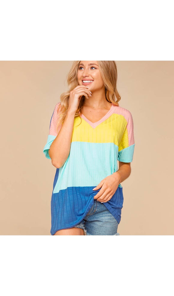 Elise Colorblocked V Neck Top