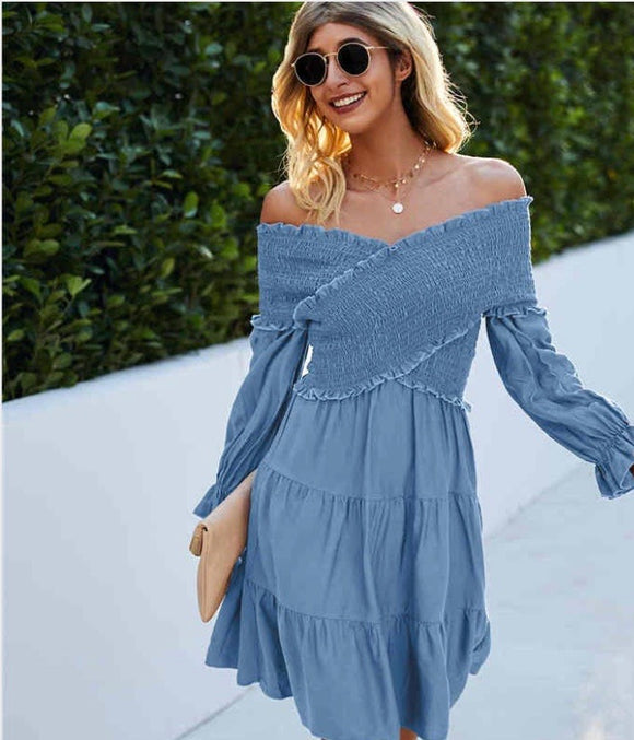 Catch Me If You Can Baby Blue Criss Cross Off The Shoulder Dress