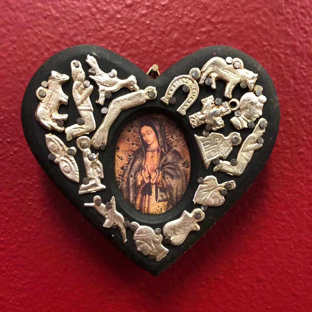 Hand-Carved Milagro Heart with Virgin Mary Oil Painting