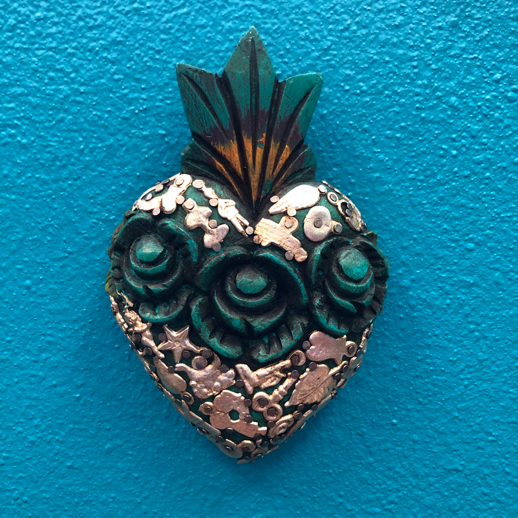 Hand-Carved Milagro Heart with Roses
