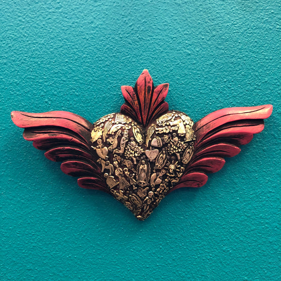 Hand-Carved Winged Milagro Heart