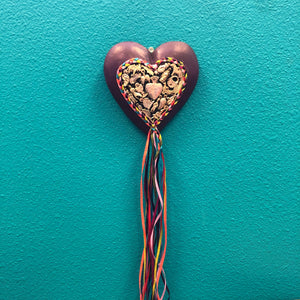 Hand-Carved Milagro Heart with Ribbon Tail