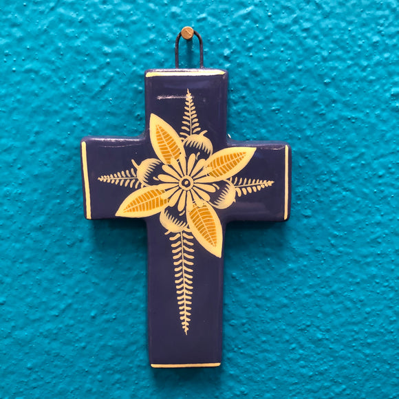 Hand-Made Pottery Cross from Tonala