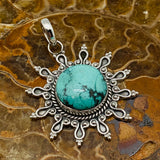 Sun Pendant set in Sterling Silver