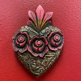 Carved Milagro Heart w Roses