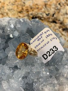 Citrine Ring in 18k Gold Size 7 D223