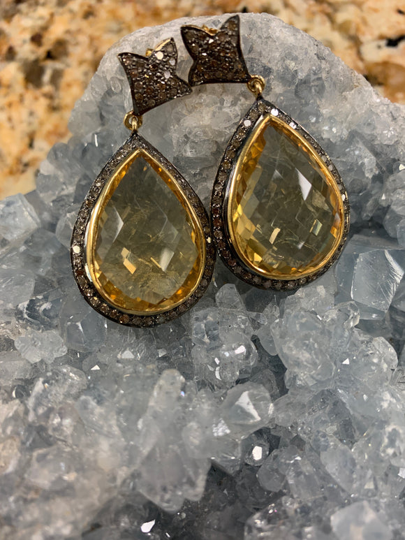 Citrine and Diamond Accent Earrings U890