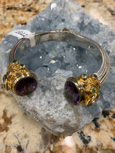 Amethyst Hinged Cuff Bracelet w/ Citrine and Peridot and Gold Over Silver Accent Z737