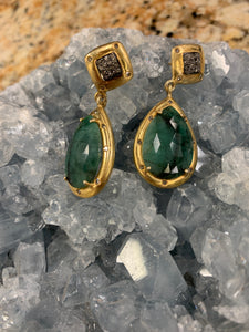 Emerald and Diamond Accent Earrings U874