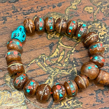 Load image into Gallery viewer, Sherpa-Style Wrist Mala with Dyed Turquoise
