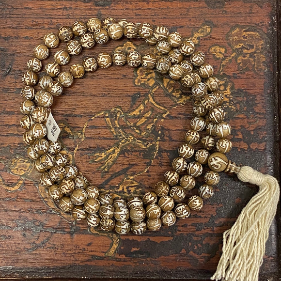 Conch Shell Om Mani tea-dyed 108 bead Mala