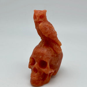 Indian sunstone Skull with Owl
