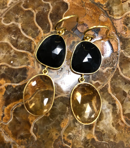 Citrine and Black Onyx Earrings in 18k Gold D231