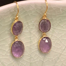 Load image into Gallery viewer, Amethyst Earrings in 18k Gold D868