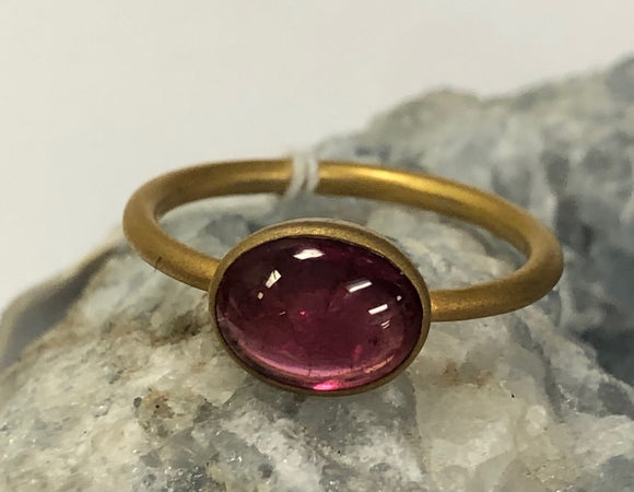 Oval Shape Pink Tourmaline Ring Size 7 D212