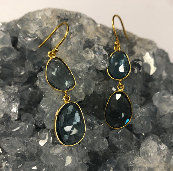 London Blue Topaz Earrings in 14k Gold D822