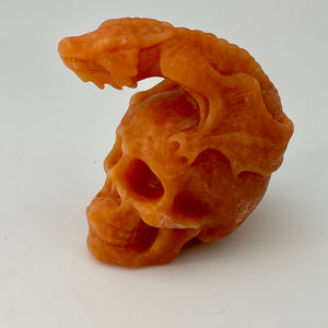 Indian sunstone Skull with Dragon