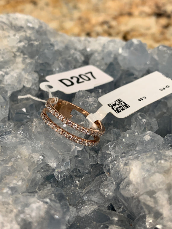 18k Rose Gold .58cttw Diamond Twin Band Ring Size 7 D207