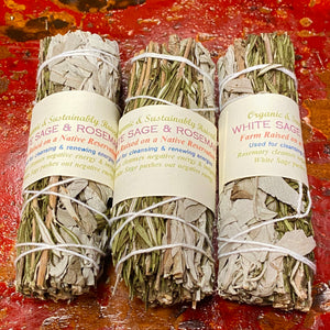 Rosemary & California White Sage & Rose Petals Smudge Bundles