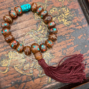 Sherpa-Style Wrist Mala with Dyed Turquoise
