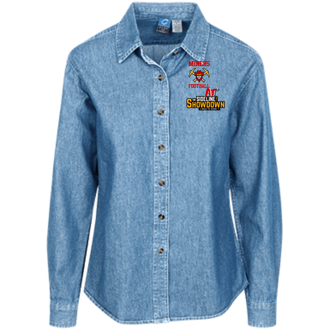 Miners Football at The Sideline Showdown Series Women's LS Denim Shirt