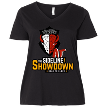 Load image into Gallery viewer, Manitoba Wildlings at The Sideline Showdown Series  Ladies' Curvy V-Neck T-Shirt