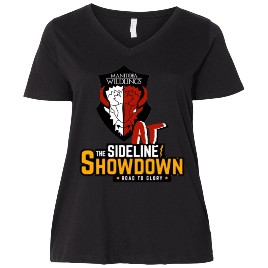 Manitoba Wildlings at The Sideline Showdown Series  Ladies' Curvy V-Neck T-Shirt