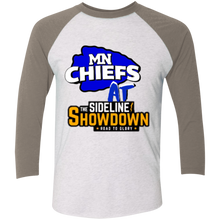 Load image into Gallery viewer, MN Chiefs at The Sideline Showdown Series Tri-Blend 3/4 Sleeve Baseball Raglan T-Shirt