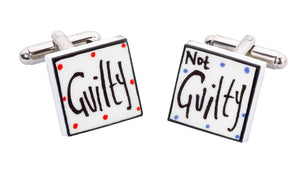 Sonia Spencer Bone China Jobs for the Boys cufflinks, Guilty not Guilty