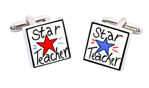 Sonia Spencer Bone China Jobs for the Boys cufflinks, Star Teacher