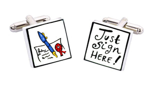 Sonia Spencer Bone China Jobs for the Boys cufflinks, Just Sign Here
