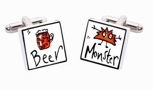 Sonia Spencer Bone China Just a Small One cufflinks, Beer Monster