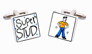 Sonia Spencer Bone China Remind you of Anyone? cufflinks, Super Stud