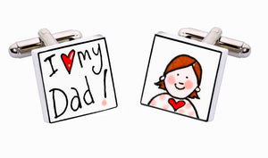 Sonia Spencer Bone China Small People cufflinks, I Love My Dad (Girl)