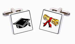 Sonia Spencer Bone China Small People cufflinks,  Graduate