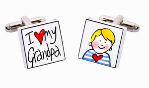 Sonia Spencer Bone China Small People cufflinks, I Love My Grandpa (Boy)