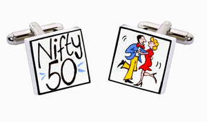Sonia Spencer bone china Nifty 50 Cufflinks