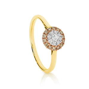 0.30ct Australian Chocolate Diamond and 0.33ct White Diamond Halo Ring