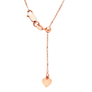 9kt Rose Gold 1.5mm 47cm Diamond Cut Oblong Adjustable Chain