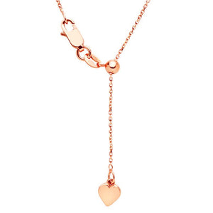 9kt Rose Gold 1.5mm 47cm Diamond Cut Trace Adjustable Chain