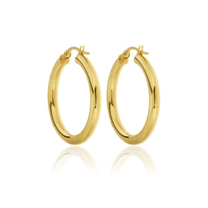 OJCO 375 9ct Gold - 9kt Yellow Gold Round Hoop Earrings