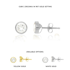 Cubic Zirconia Bezel Set Stud Earrings in 9kt Gold