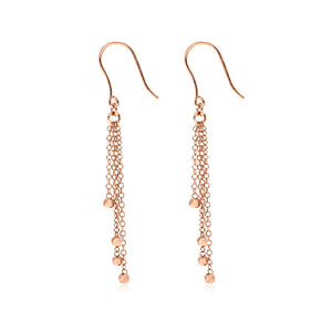 Italian rose gold plated sterling silver multi drop earrings